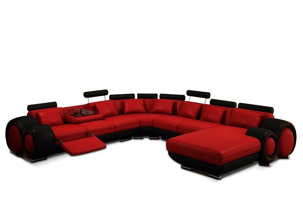 Emejing Red And Black Leather Sectional Gallery – Liltigertoo Inside Red Leather Sectional Sofas With Recliners (View 7 of 10)