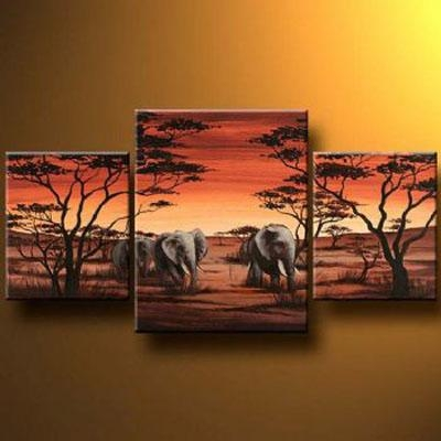 Evening Safari Modern Canvas Art Wall Decor Landscape Oil Painting Pertaining To Safari Canvas Wall Art (Photo 1 of 20)