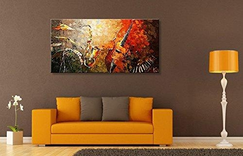 Everfun Art Hand Painted Oil Painting On Canvas Modern Music With Abstract Wall Art For Living Room (Image 11 of 20)