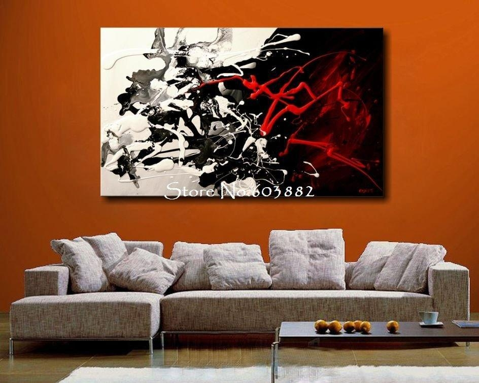 Excellent 100 Hand Painted Discount Large Black White And Red Inside Large Red Canvas Wall Art (View 8 of 14)