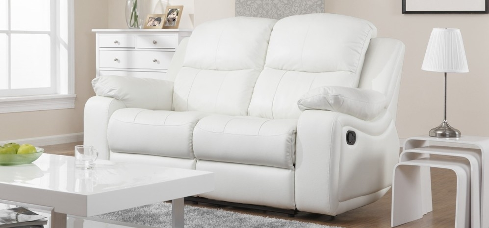 Excellent Montreal Blossom White Reclining 3 2 Seater Leather Sofa Regarding 2 Seat Sectional Sofas (Image 1 of 10)