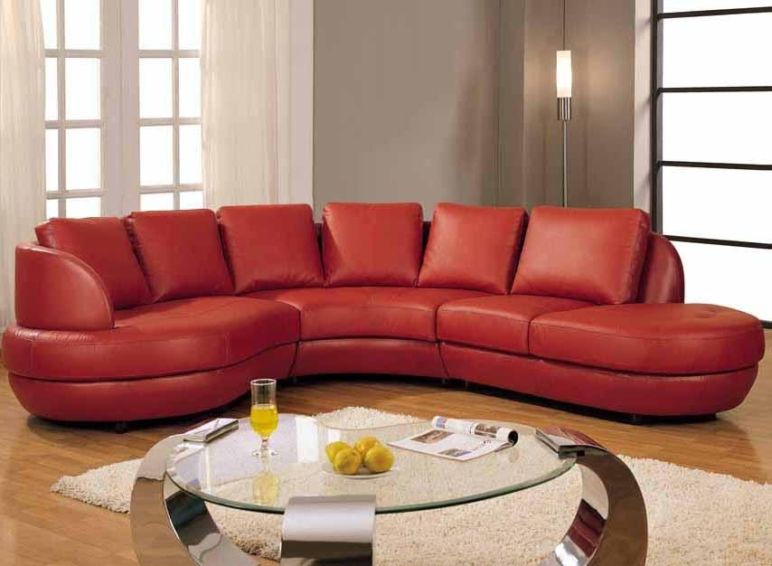 Excellent Stylish Red Leather Sectional Sofa With For Sofas Popular For Red Leather Sectional Couches (Image 3 of 10)
