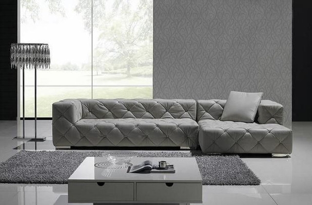 Exclusive Tufted 100 Italian Leather Sectional Contemporary Grey With Tufted Sectional Sofas (Image 2 of 10)