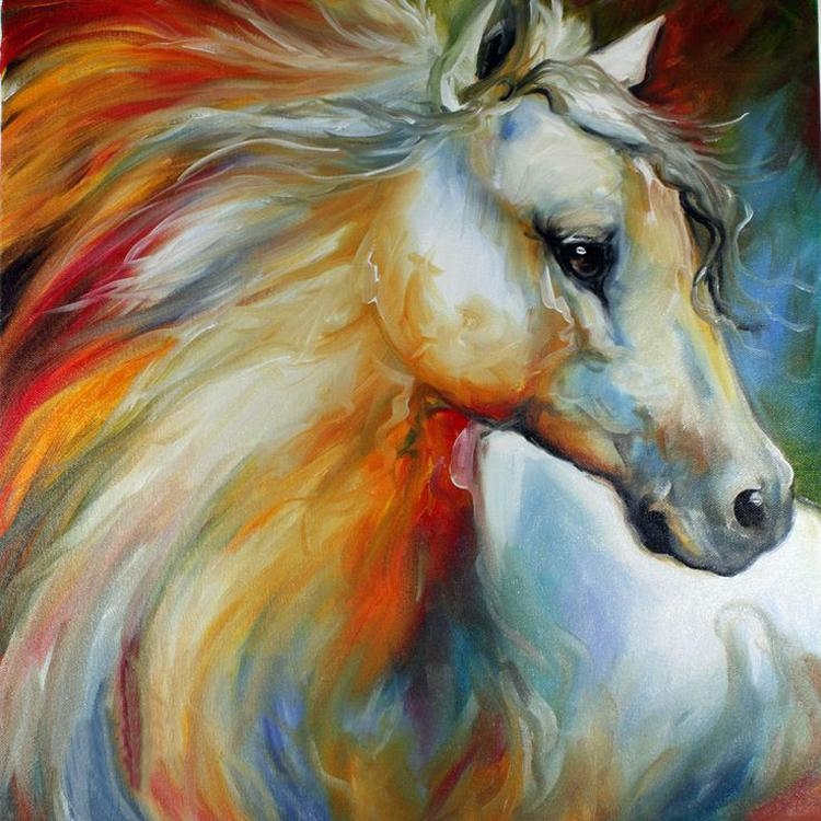 Experienced Professional Painter Pure Handmade High Quality With Abstract Horse Wall Art (Image 6 of 20)
