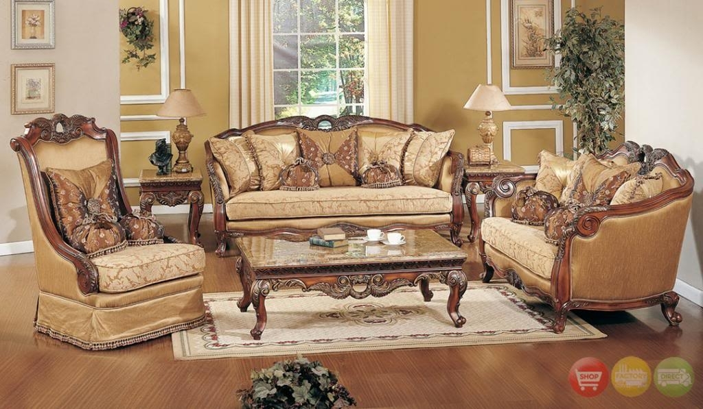 Exposed Wood Luxury Traditional Sofa & Loveseat Formal Living Room Within Living Room Sofa Chairs (Photo 9 of 10)