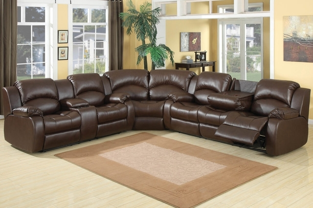 Exquisite Reclining Sofa With Console At Ac Pacific Chocolate Throughout Sectional Sofas With Consoles (Photo 2 of 10)