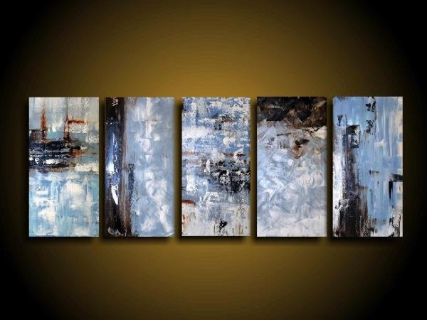 Extra Large Abstract Art Modern Painting Wall Art Blue Painting With Regard To Blue And Brown Canvas Wall Art (Photo 4 of 20)