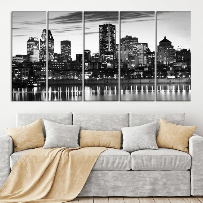 Extra Large Wall Art Montreal Canvas Print – Montreal Skyline Pertaining To Montreal Canvas Wall Art (Photo 16 of 20)