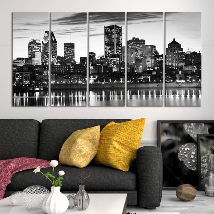 Extra Large Wall Art Montreal Canvas Print – Montreal Skyline Throughout Montreal Canvas Wall Art (Image 8 of 20)