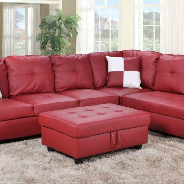 F093B – Red Faux Leather Sectional With Storage Ottoman – All Pertaining To Red Faux Leather Sectionals (Image 4 of 10)