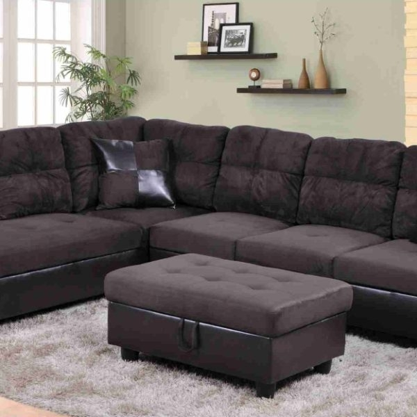 F105A – Brown Microfiber & Faux Leather Sectional With Storage With Regard To Leather Sectionals With Ottoman (Image 7 of 10)