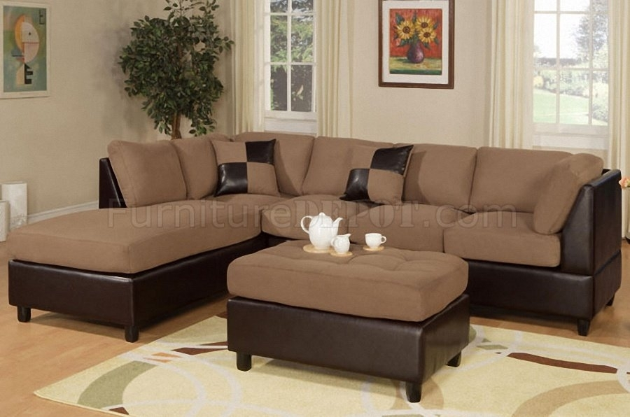 F7616 Poundex Saddle Microfiber Modern Sectional Sofa W/ottoman Within Sectional Sofas With Ottoman (View 2 of 10)