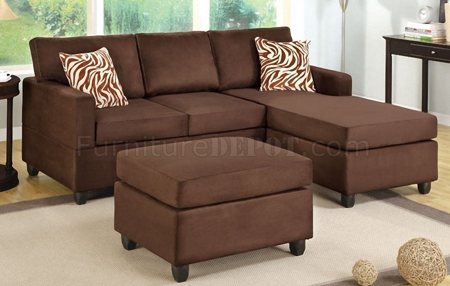 F7661 Small Sectional Sofa In Chocolate Microfiberpoundex With Small Sectional Sofas With Chaise And Ottoman (Photo 1 of 10)