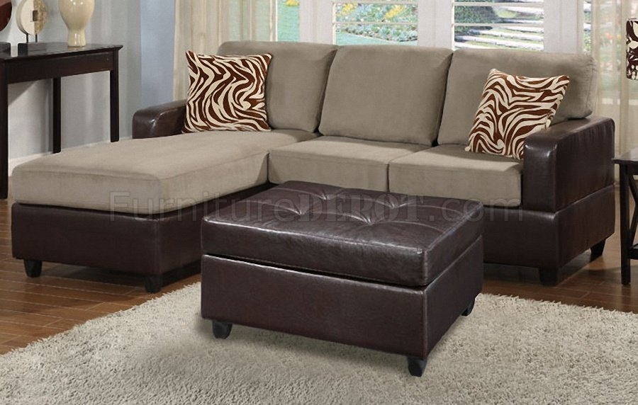 F7669 Poundex Pebble Microfiber & Faux Leather Small Sofa Ottoman Inside Sofas With Chaise And Ottoman (Image 5 of 10)