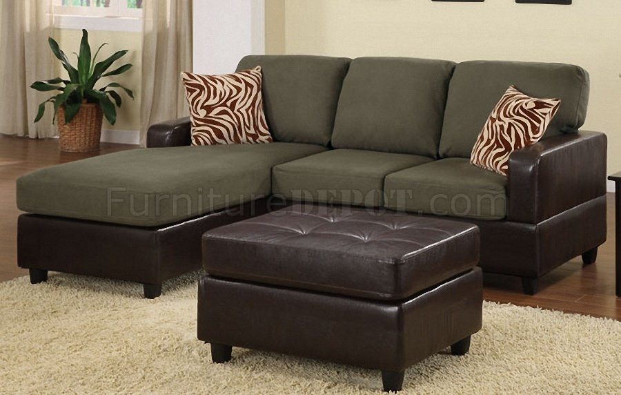 F7670 Small Sectional Sofa & Ottoman In Sage Microfiberpoundex With Small Sectional Sofas With Chaise And Ottoman (View 2 of 10)