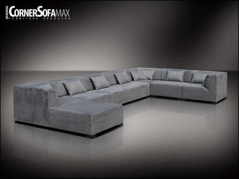 Fabric Faux Suede Silver 3*chair +4Xcorner +1*footstall Within Faux Suede Sofas (Photo 9 of 10)