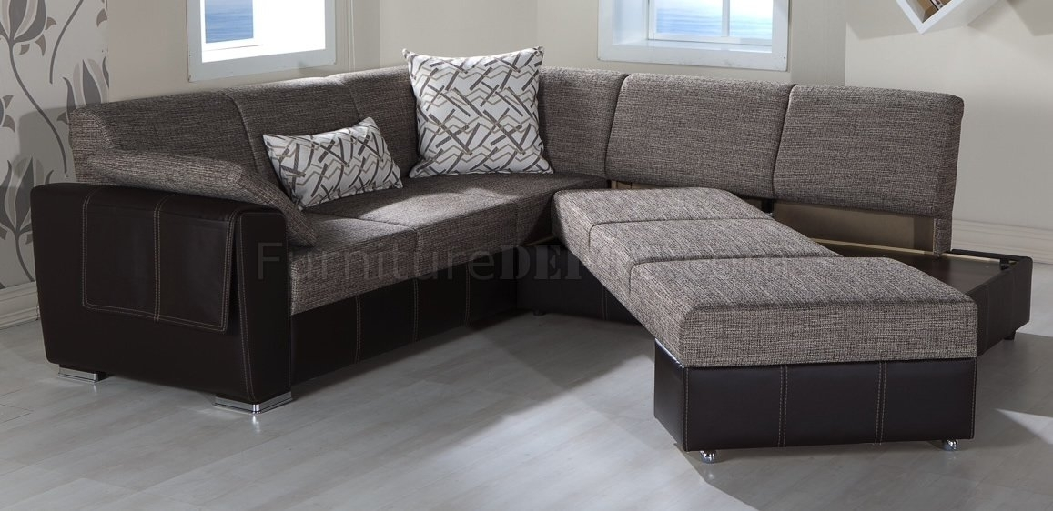 Fabric & Leatherette Base Convertible Sectional Sofa Bed Intended For Sectional Sofas At Barrie (View 6 of 10)