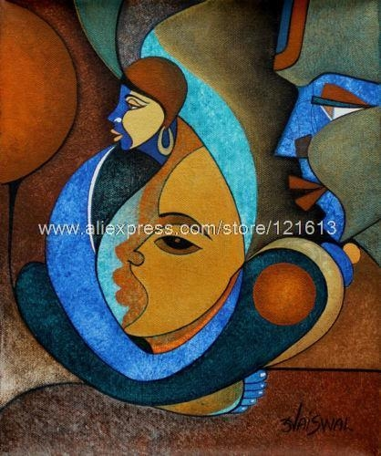 Faces Acrylic Abstract Cubist Painting Handmade India Oil Pertaining To India Abstract Wall Art (Image 5 of 20)