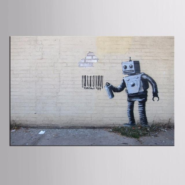 Factory Wholesale Abstract Graffiti Robot On Canvas Painting Wall For Robot Canvas Wall Art (Image 6 of 20)