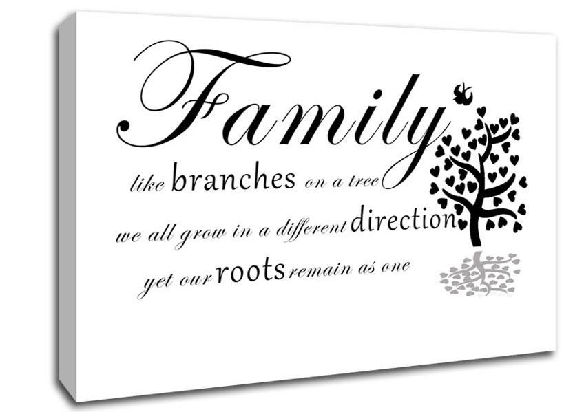 Family Like Branches On A Tree White Text Quotes Canvas Stretched With Regard To Canvas Wall Art Family Quotes (Image 1 of 20)