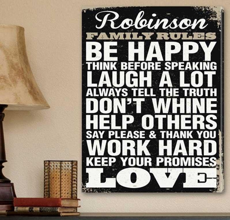Family Rules Canvas Wall Art Canvas Print | Home Interior & Exterior With Regard To Canvas Wall Art Family Rules (Image 6 of 20)