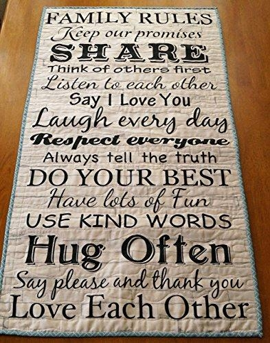Family Rules Quilted Fabric Wall Sign – Faux Wood Wall Art Intended For Canvas Wall Art Family Rules (Image 7 of 20)