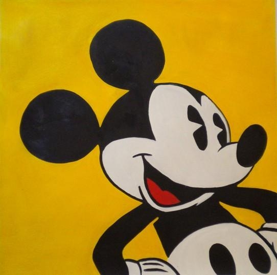 Famous Mickey Mouse On A Yellow Wall Art Home Deco Handmade Canvas Regarding Mickey Mouse Canvas Wall Art (Image 8 of 20)