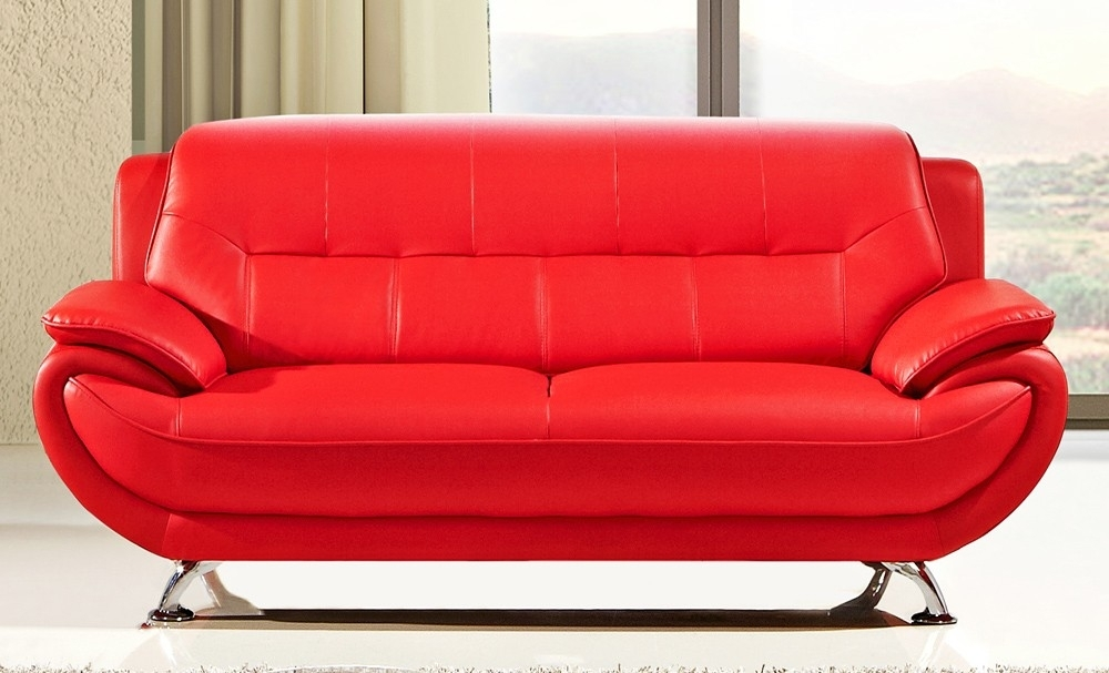 Fancy Bright Red Leather Sofa 67 With Additional Office Sofa Ideas Regarding Red Leather Couches (Image 3 of 10)