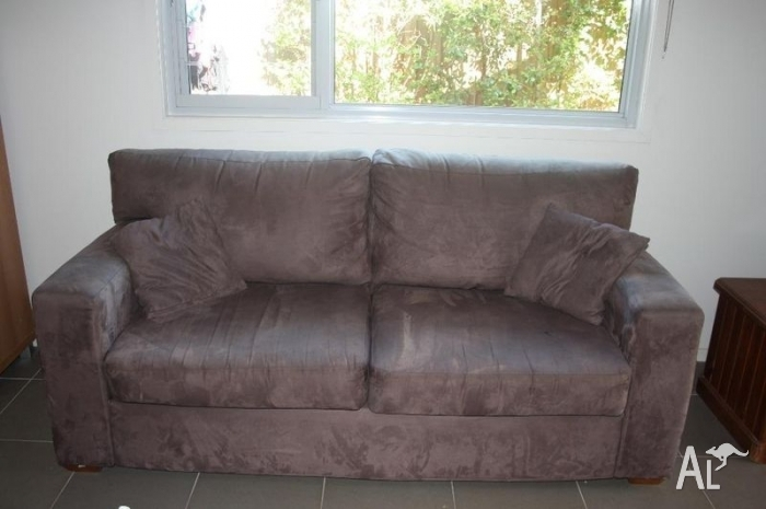 Fantastic Furniture Brown Faux Suede Sofa For Sale In Ermington, New Throughout Faux Suede Sofas (Photo 2 of 10)