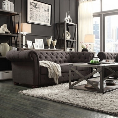 Fantastic Tufted Linen Sofa 35 For Your Living Room Sofa Ideas With With Tufted Linen Sofas (Image 2 of 10)