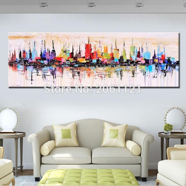 Fashion Modern Living Room Decorative Oil Painting Handpainted In Long Abstract Wall Art (View 12 of 20)