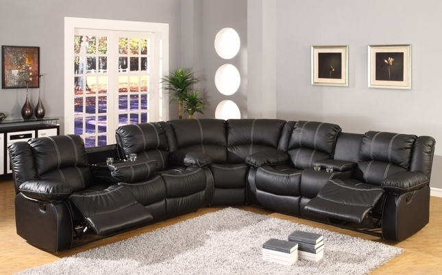Faux Leather Reclining Motion Sectional Sofa W/ Storage Console Inside Faux Leather Sectional Sofas (Image 4 of 10)