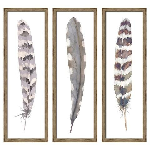 "Feather 3 Pack Wall Art Target | 12""x36"" Framed 3 Pack Feathers For Canvas Wall Art At Target (View 6 of 20)"