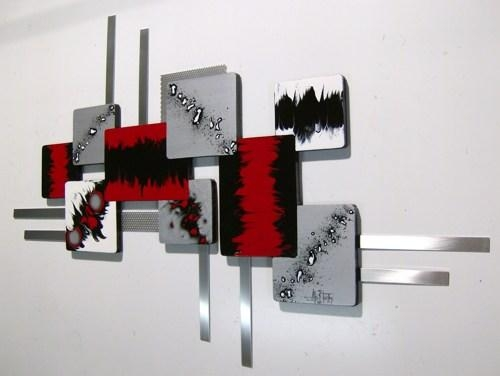 Feeling Red Abstract Art Geometric Wood N Metal Wall Sculpture 36 Pertaining To Abstract Iron Wall Art (Image 12 of 20)
