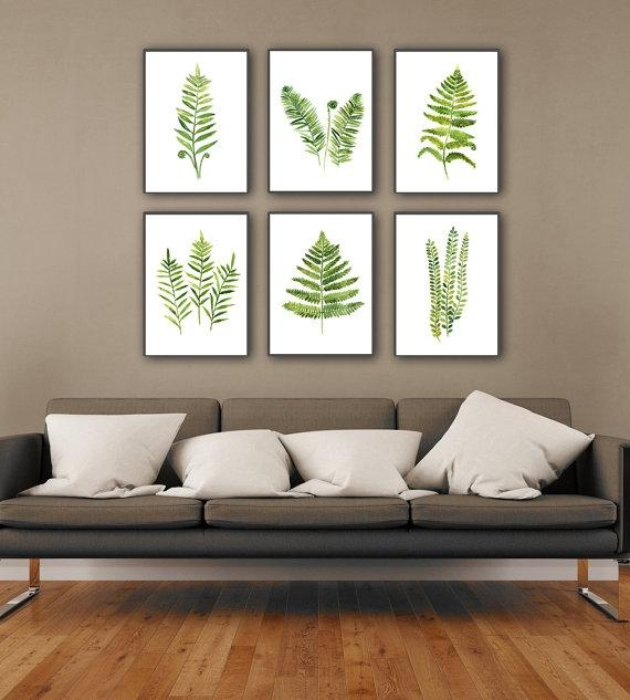 Fern Plant Art Print Botanical Living Room Wall Decor Green Regarding Abstract Kitchen Wall Art (Image 11 of 20)