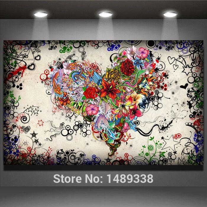 Find More Painting & Calligraphy Information About New Arrived Throughout Hearts Canvas Wall Art (Image 7 of 20)