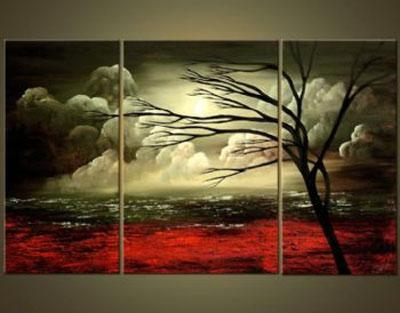 Flaming Shades Of Fall Modern Landscape Canvas Oil Painting Wall Throughout Landscape Canvas Wall Art (View 14 of 20)