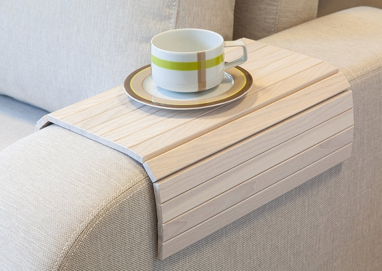 Flexible Wooden Sofa Armrest Tray Table The Green Head Sofa Drink For Sofas With Drink Tables (Image 2 of 10)