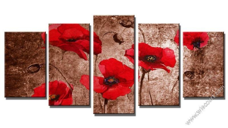 Floral Canvas Art Sets Wall Decor Modern Canvas Prints Wall Art For Red Flowers Canvas Wall Art (Photo 6 of 20)