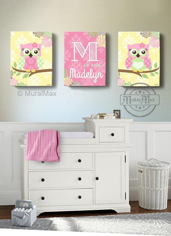 Floral Owl Girls Wall Art Custom Personalized Owl Canvas With Personalized Nursery Canvas Wall Art (View 12 of 20)
