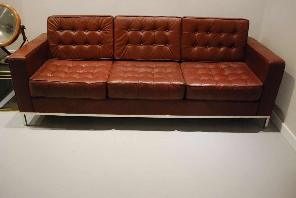 Florence Knoll Design Large Sofa And Armchair. Cognac Leather (Image 2 of 10)