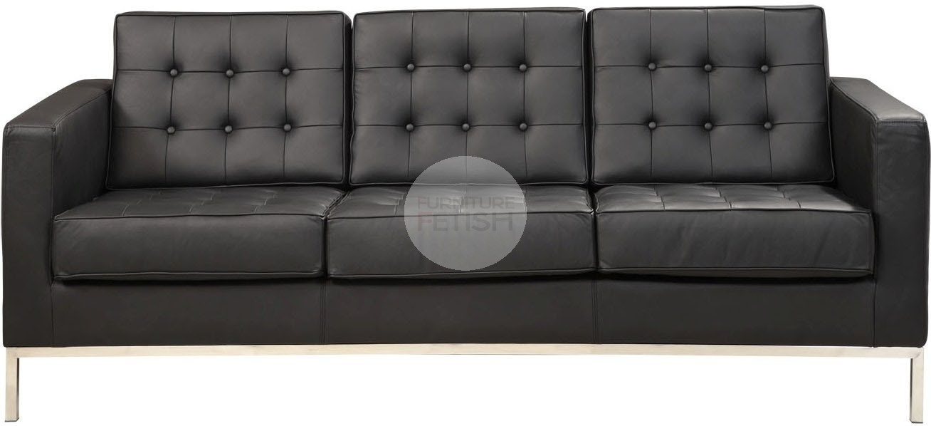 Florence Knoll Replica 3 Seater Sofa – Black Furniture Fetish Gold Within Florence Knoll 3 Seater Sofas (Image 5 of 10)