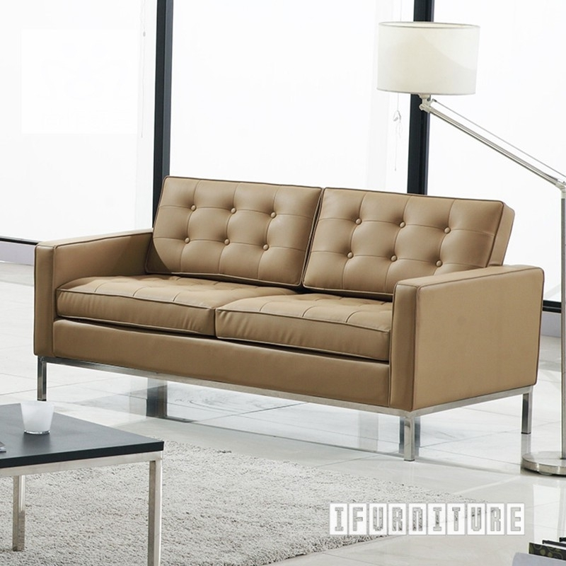 Florence Knoll Sofa Replica *italian Leather , Replica Reproduction Pertaining To Florence Sofas And Loveseats (Image 6 of 10)