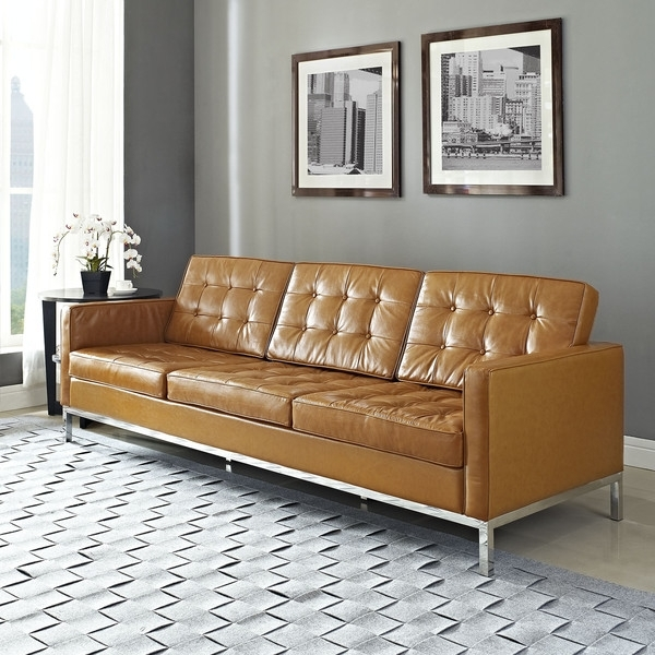 Florence Knoll Style Leather Sofa | Florence Knoll, Living Room With Florence Leather Sofas (Image 6 of 10)