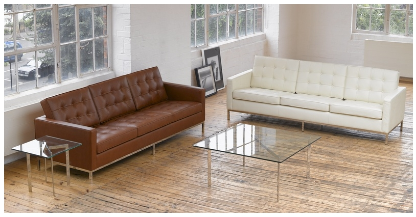 Florence Knoll Style Sofa 3 Seat, Cream White Premium Leather Within Florence Knoll Leather Sofas (Image 9 of 10)