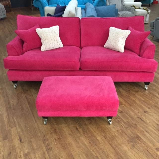 Florence Large Sofa And Footstool In Vogue Hot Pink Http://www Throughout Florence Large Sofas (Image 4 of 10)
