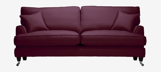 Florence Large Sofa With Fixed Covers In House Velvet Burgundy Intended For Florence Large Sofas (Image 8 of 10)