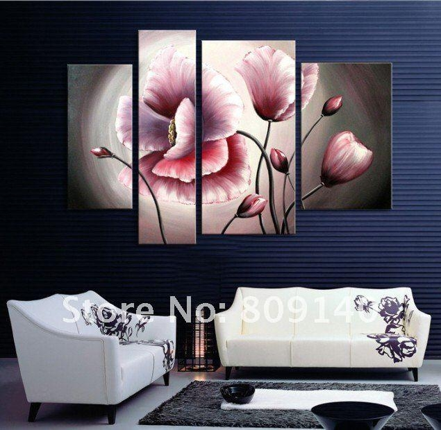 Flower Oil Painting Contemporary Abstract Art Canvas Hand Painted For Hand Painted Canvas Wall Art (Image 7 of 20)