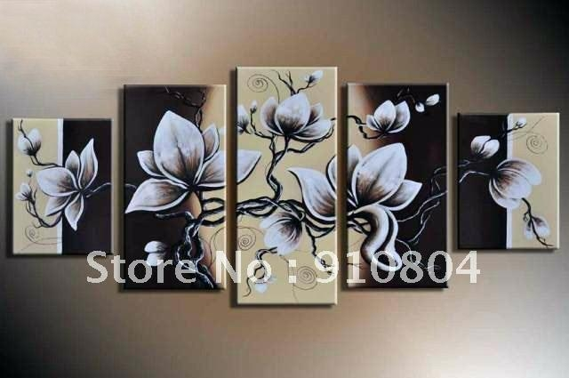 Flower On Canvas Wall Art Inimitable Composition Oil Painting Wall With Regard To Canvas Wall Art Pairs (View 14 of 20)