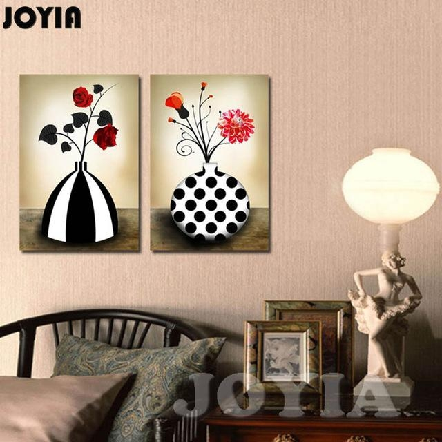 Flower Vase Canvas Prints Retro Black And White Abstract Floral Inside Retro Canvas Wall Art (Image 11 of 20)